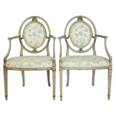 Pair of Antique Hand-Painted Gustavian Armchairs