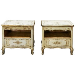 Pair of Antique Hand Painted Italian Nightstands
