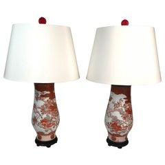 Pair of Antique Hand Painted Japanese Satsuma Porcelain Lamps