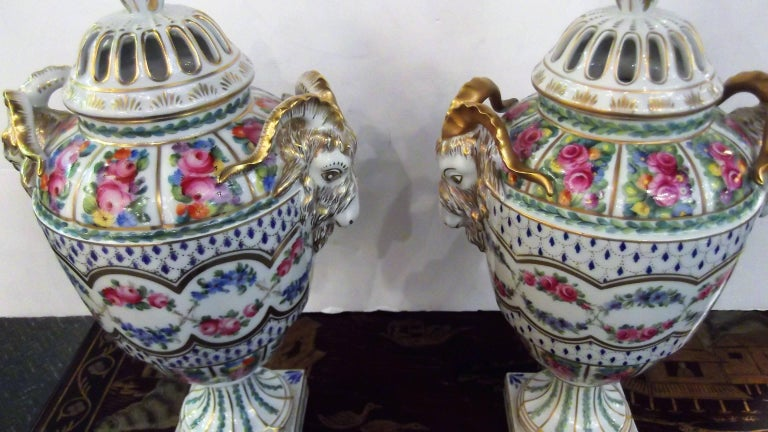 An impressive Dresden hand painted floral and gilt appointed ram's head urn. A gilt final topped on the pierced lid. The body is expertly hand decorated with gilt accents, floral swags and bouquets. All hand painted to perfection.
