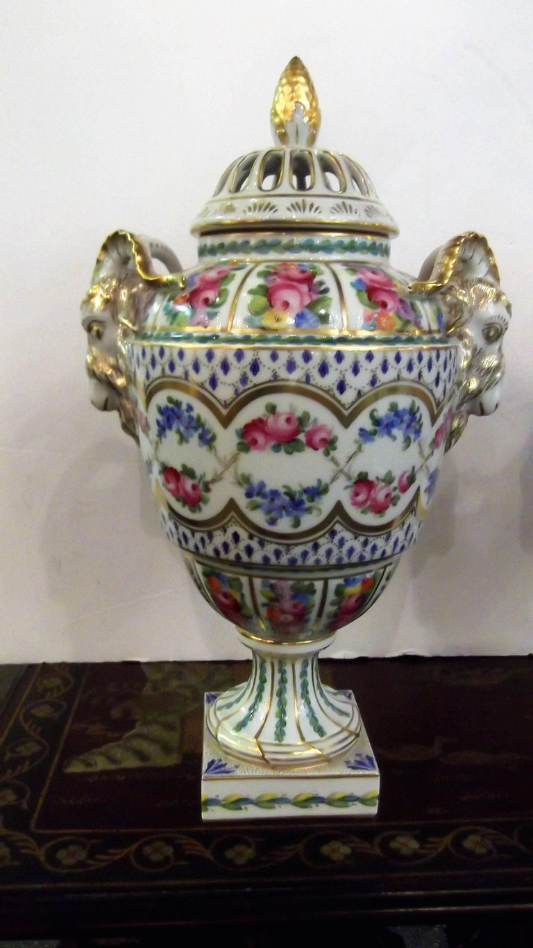 Edwardian Pair of Antique Hand Painted Porcelain Dresden Urns with Lids For Sale
