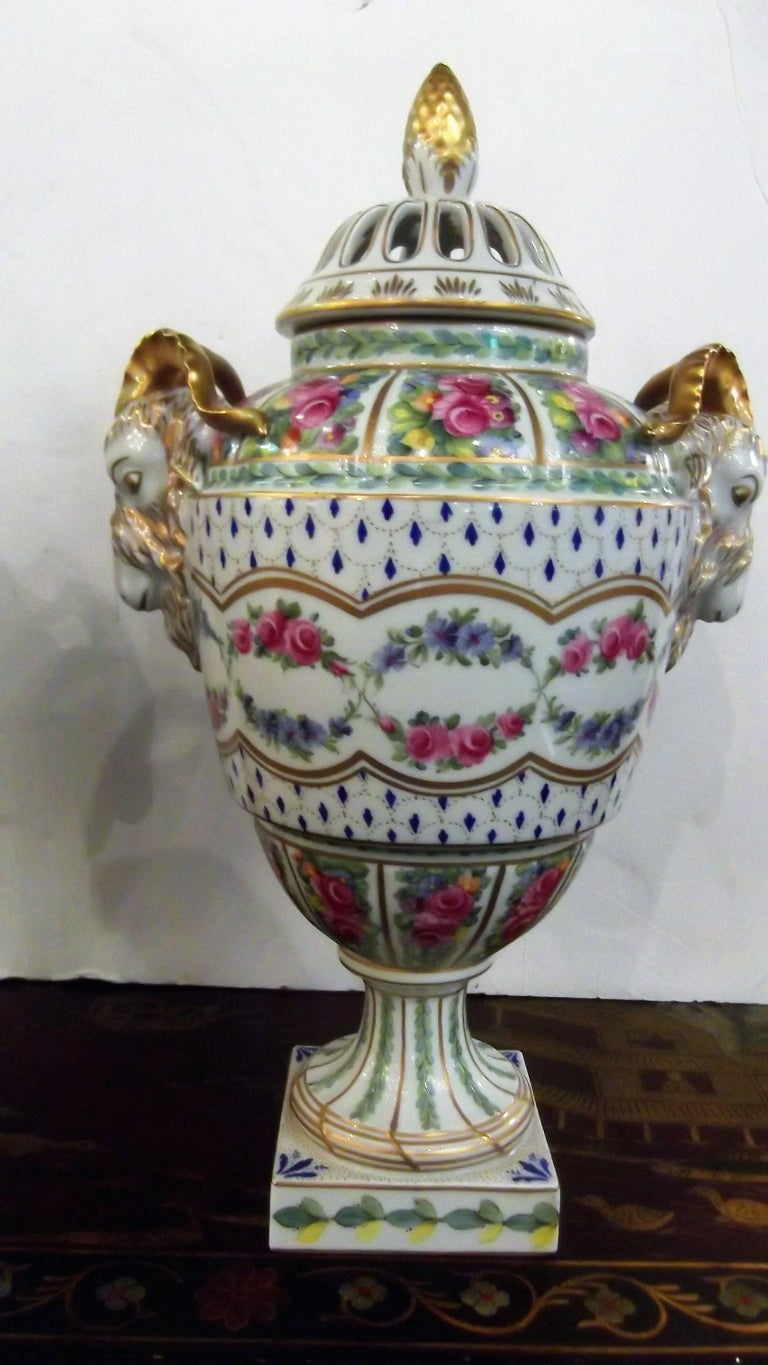 German Pair of Antique Hand Painted Porcelain Dresden Urns with Lids For Sale