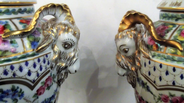 Hand-Painted Pair of Antique Hand Painted Porcelain Dresden Urns with Lids For Sale