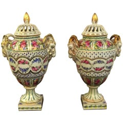 Pair of Antique Hand Painted Porcelain Urns