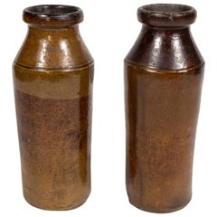 Pair of Antique Hand Thrown Worn Stoneware Tall Vases