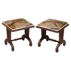 Pair of Antique Hardwood William IV circa 1830 Footstools Mulberry Flying Ducks