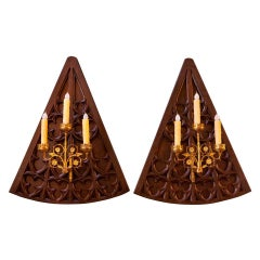 Pair of Antique Heavily-Carved Neo-Gothic Carved Oak and Brass Sconces