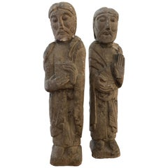 Pair of Antique Hebrew Stone Figures Sculptures