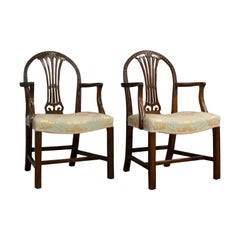 Pair of Antique Hepplewhite Revival Carvers, Mahogany, Armchair, Victorian