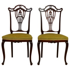 Pair of Antique Hollandia Pander & Zn Mahogany Side Chairs, Late 19th Century