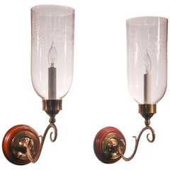 Pair of Antique Hurricane Shade Wall Sconces with Floral Etching