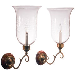 Pair of Antique Hurricane Shade Wall Sconces with Grape Etching