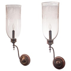 Pair of Antique Hurricane Shade Wall Sconces with Leaf Etching