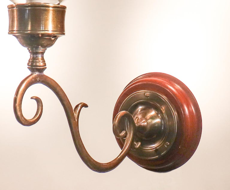 Pair of Antique Hurricane Shade Wall Sconces with Star Etching For Sale 2