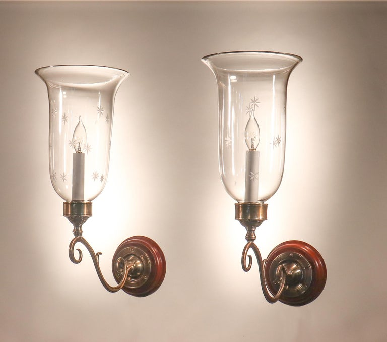 Victorian Pair of Antique Hurricane Shade Wall Sconces with Star Etching For Sale