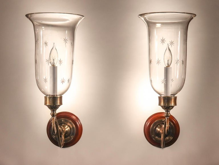 English Pair of Antique Hurricane Shade Wall Sconces with Star Etching For Sale