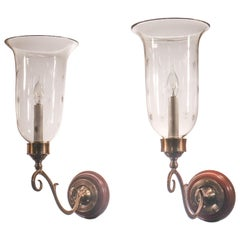 Pair of Antique Hurricane Shade Wall Sconces with Star Etching