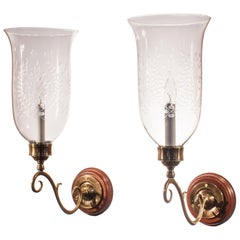 Pair of Antique Hurricane Shade Wall Sconces with Wheat Etching