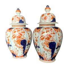 Pair of Antique Imari Style Ginger Jars