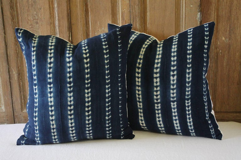 Pair of antique indigo blue Batik accent pillows Custom-made by Full Bloom Cottage, the fronts of the pillows are in an antique Batik fabric, very soft and nubby, the backside are finished in a thick natural French linen, with hidden zipper