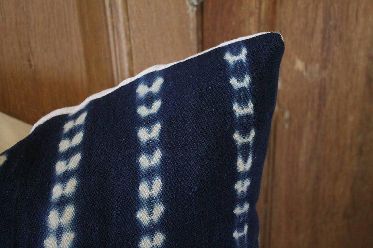 Asian Pair of Antique Indigo Blue Batik Accent Pillows For Sale