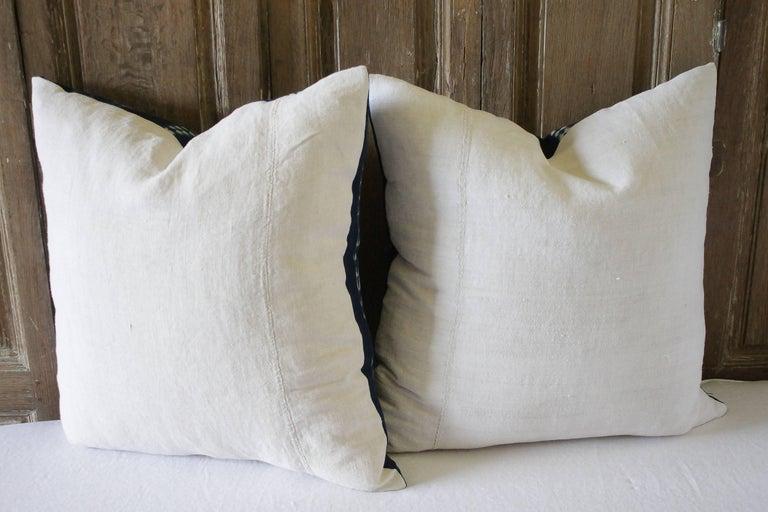 Pair of Antique Indigo Blue Batik Accent Pillows For Sale 1