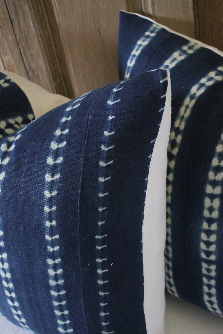Pair of Antique Indigo Blue Batik Accent Pillows For Sale 3
