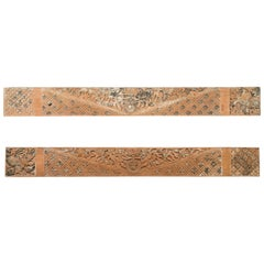 Pair of Antique Indonesian Carved Wooden Panels with Traces of Polychromy