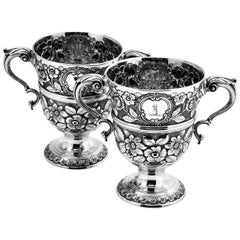 Pair of Antique Irish Solid Silver Cups Dublin, 1775