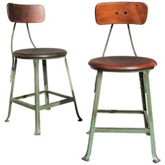 Pair of Antique Iron and Wood Industrial Stools