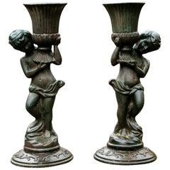 Pair of Antique Iron Caryatid Garden Figures