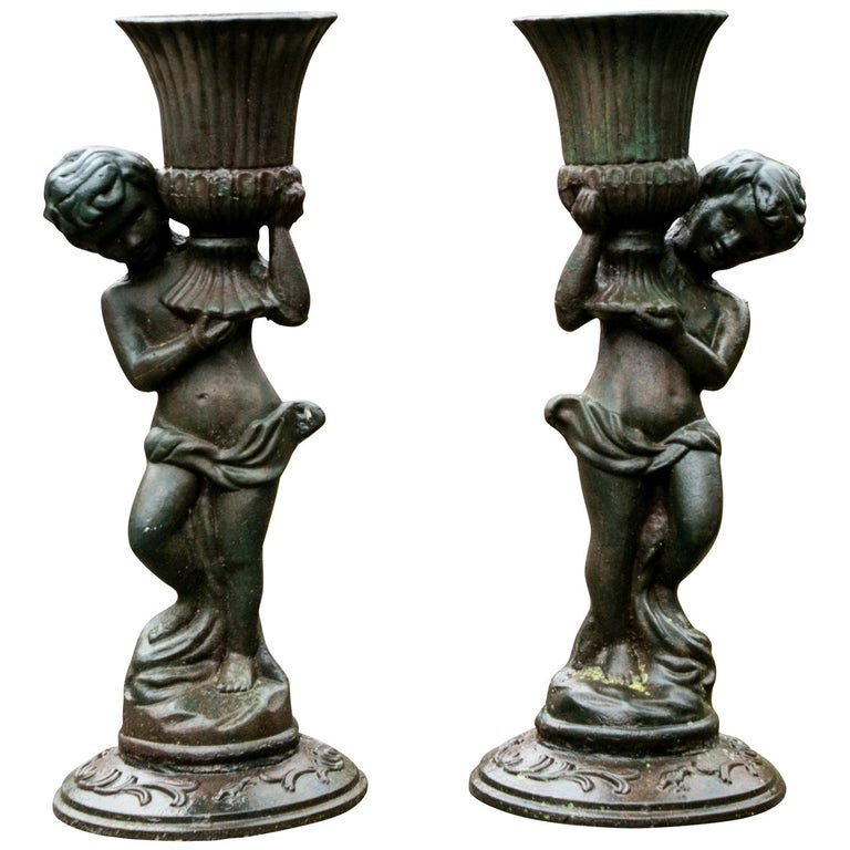 Pair of Antique Iron Caryatid Garden Figures For Sale
