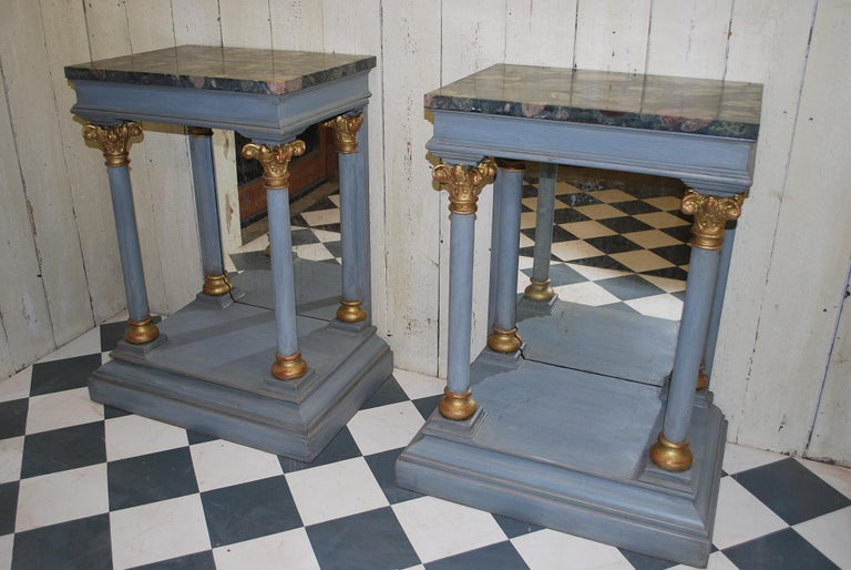 Pair of Antique Italian 19th century painted  Console /pier tables / hall tables For Sale 4