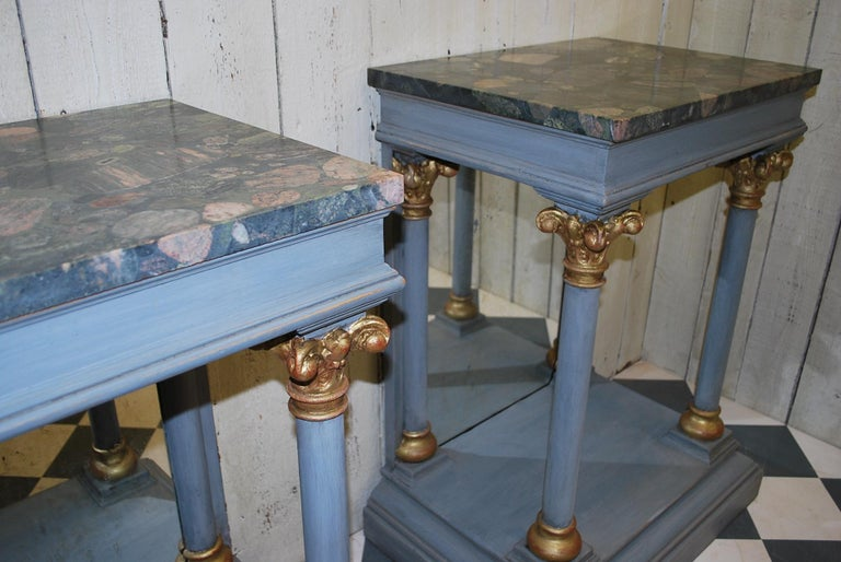 Neoclassical Pair of Antique Italian 19th century painted  Console /pier tables / hall tables For Sale