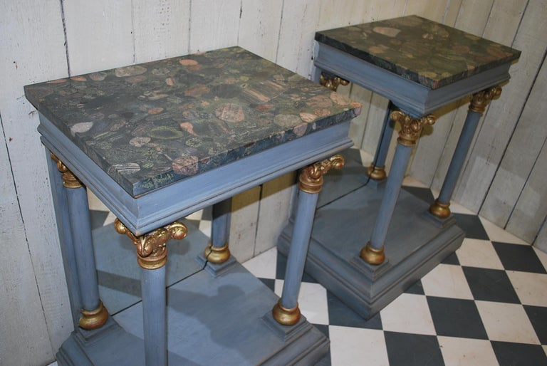 Early 20th Century Pair of Antique Italian 19th century painted  Console /pier tables / hall tables For Sale