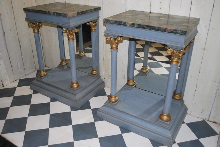 Granite Pair of Antique Italian 19th century painted  Console /pier tables / hall tables For Sale