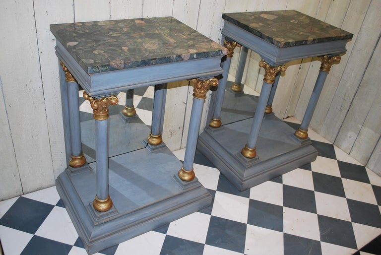 Pair of Antique Italian 19th century painted  Console /pier tables / hall tables For Sale 2