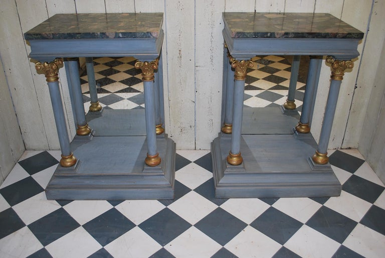 Pair of Antique Italian 19th century painted  Console /pier tables / hall tables For Sale 3
