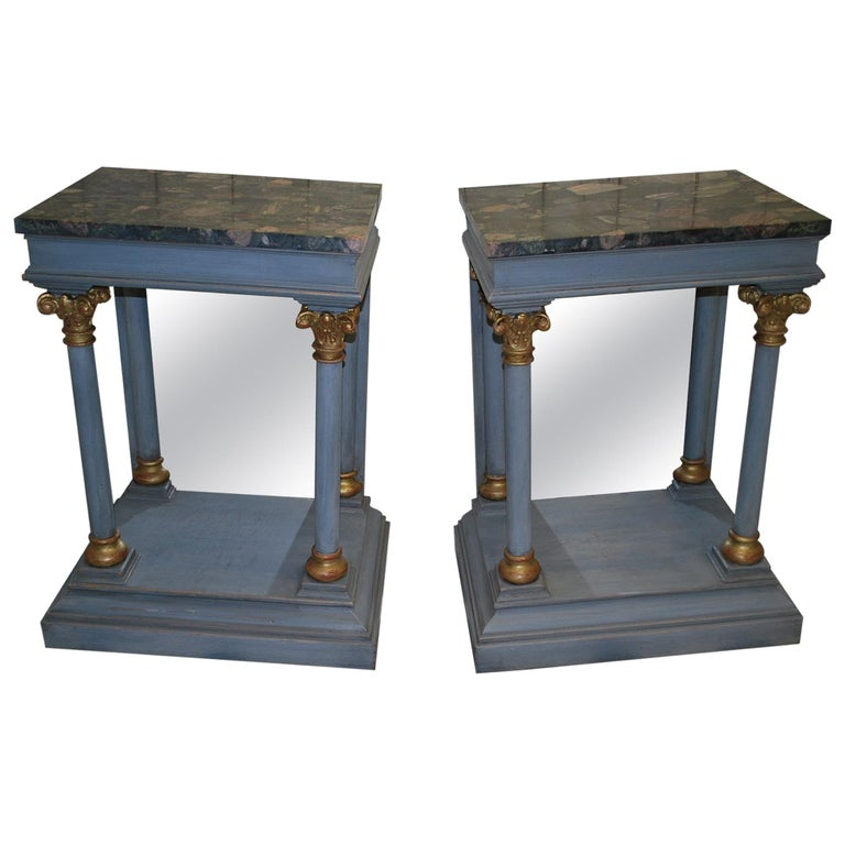 Pair of Antique Italian 19th century painted  Console /pier tables / hall tables For Sale