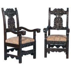 Pair of Antique Italian Armchairs with High Relief Carving, circa 1860-1880