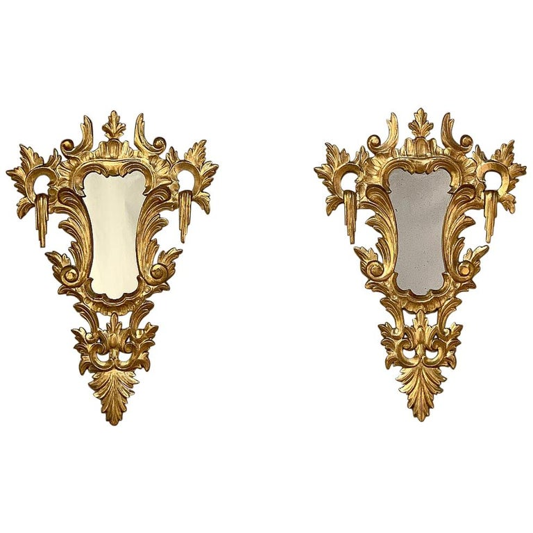 Pair of Antique Italian Baroque Carved Giltwood Mirrors For Sale
