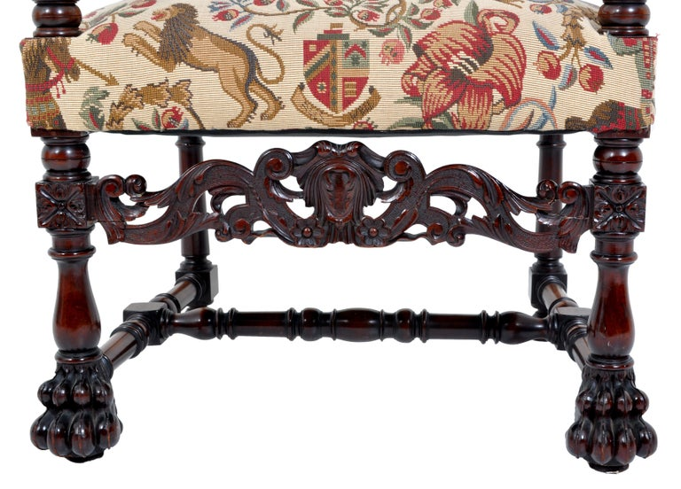 Pair of Antique Italian Baroque Carved Mahogany Throne Chairs, circa 1870 For Sale 4
