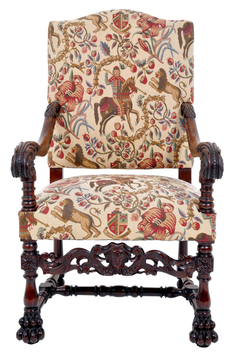 Hand-Carved Pair of Antique Italian Baroque Carved Mahogany Throne Chairs, circa 1870 For Sale