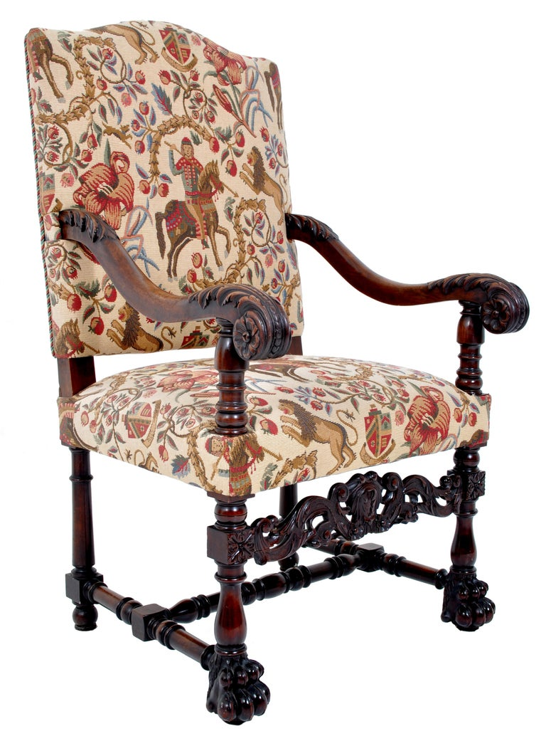 Pair of Antique Italian Baroque Carved Mahogany Throne Chairs, circa 1870 In Good Condition For Sale In Portland, OR