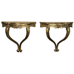 Pair of Antique Italian Baroque Giltwood Nightstands/Consoles