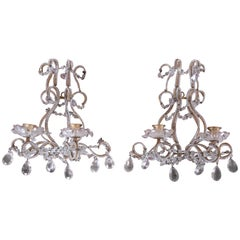 Pair of Antique Italian Baroque Wall Sconces in Crystal, Brass, and Gilt Metal