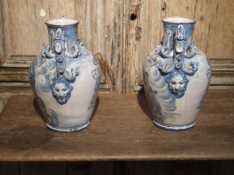 Pair of Antique Italian Blue and White Vases, Naples, circa 1890 For Sale 4