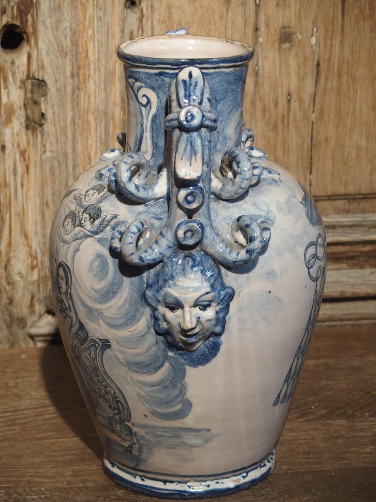 Pair of Antique Italian Blue and White Vases, Naples, circa 1890 For Sale 5