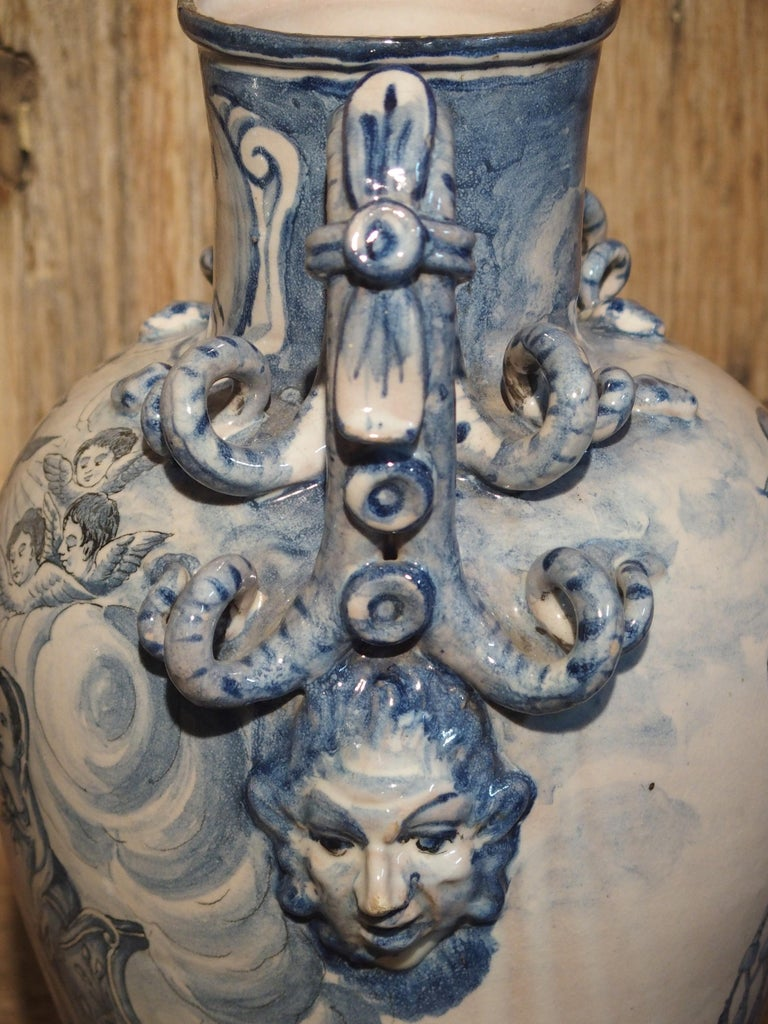 Pair of Antique Italian Blue and White Vases, Naples, circa 1890 For Sale 7