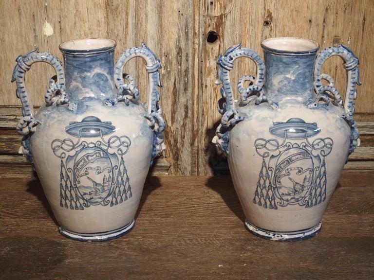 Pair of Antique Italian Blue and White Vases, Naples, circa 1890 For Sale 8